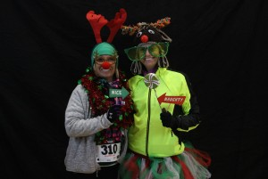 WSI rider, Katie in her infamous reindeer hat having fun prerace in the photo booth (photo courtesy of Callie JC Photography)